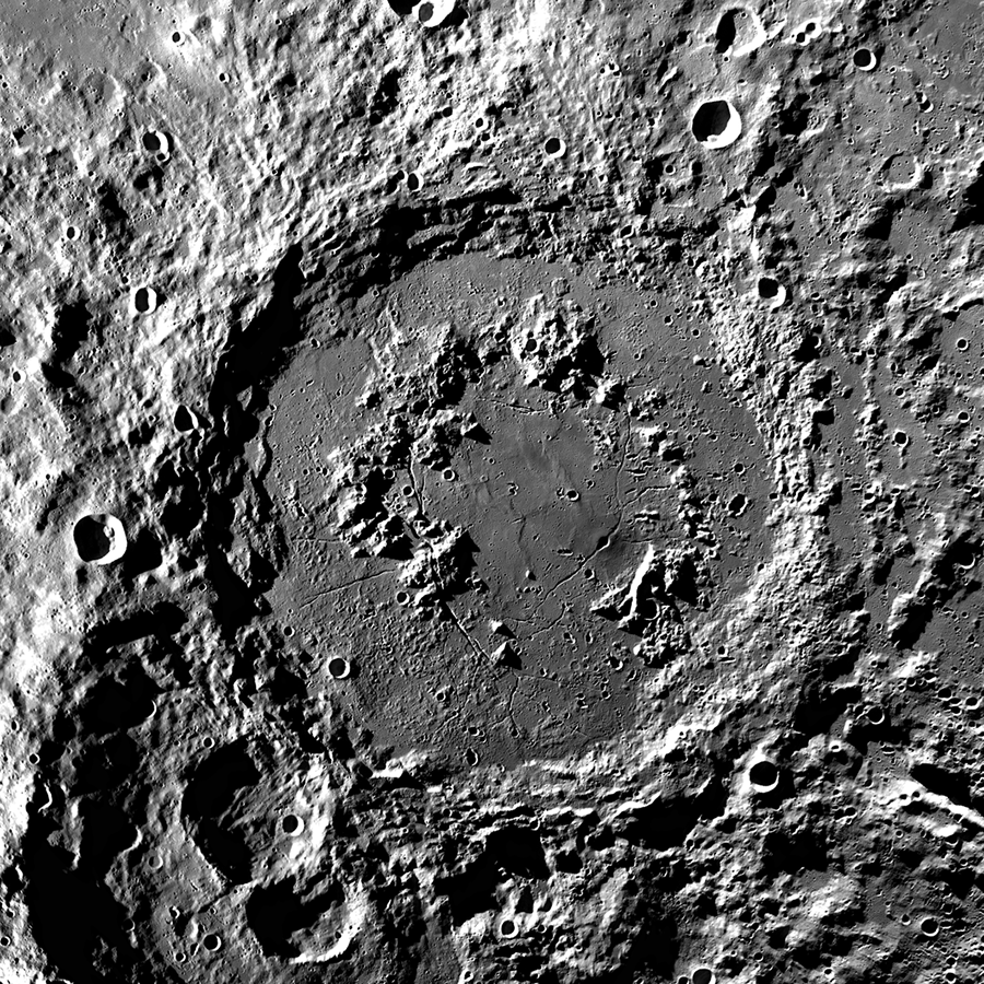 Nearly 200 miles wide, the moon's Schrödinger basin is a bigger but otherwise nearly identical version of the Chicxulub crater. NASA (IMAGE BY LUNAR RECONNAISSANCE ORBITER) / PUBLIC DOMAIN