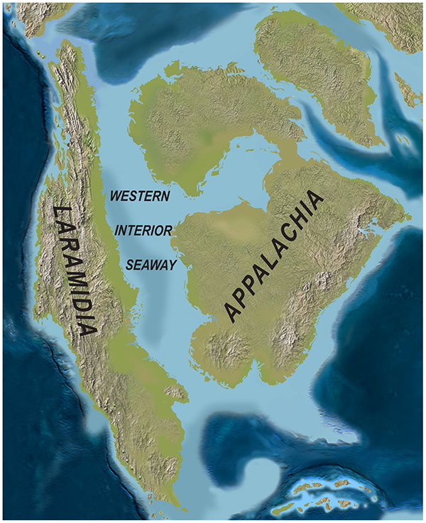 Paleogeography of North America during the late Campanian Stage of the Late Cretaceous (~75 Ma). Modified after Blakey.
