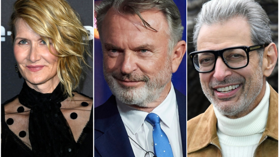 Left to Right: Laura Dern, Sam Neill and Jeff Goldblum. (Photos by Getty Images)