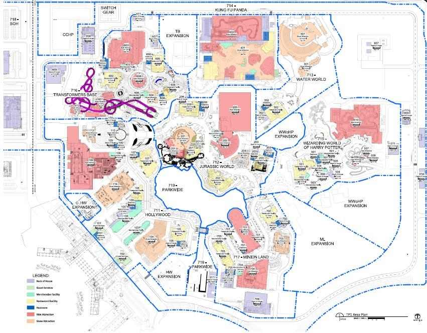 Overhead permit view of Universal Studios Beijing. Rides are in red, shows are in orange. Sixteen rides, nine shows. Three/four coasters.