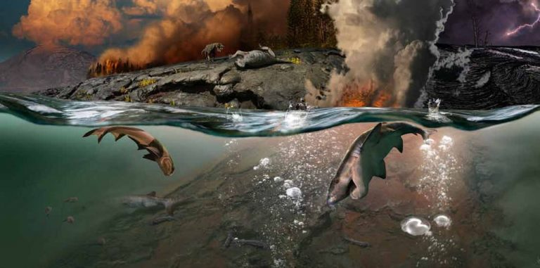 PERMIAN EXTINCTION SCENE A devastating moment on both land and water.