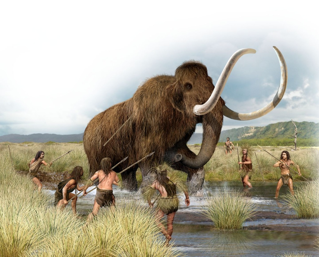 Pleistocene modern humans hunting a Mammoth with spears
