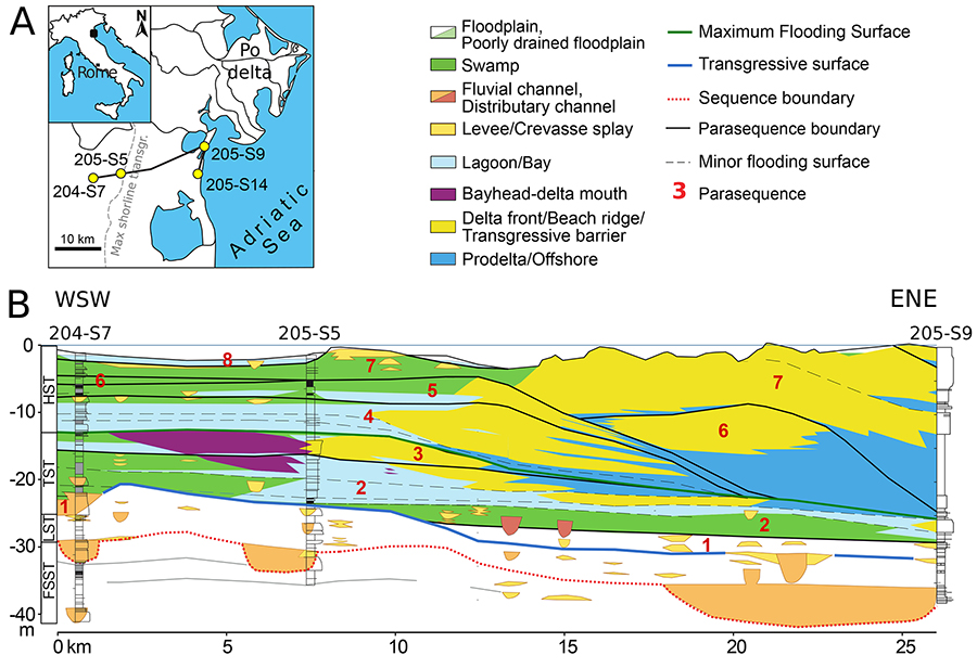 The numbers atop this landscape show where cores were drilled. The cores captured a snapshot of various environments – such as coastal lagoons, swamps and deltas – not only horizontally across the current geographic landscape but also at different depths, reflecting how the region has changed over time. Figure by Nawrot et al. in Proceedings of the Royal Society B