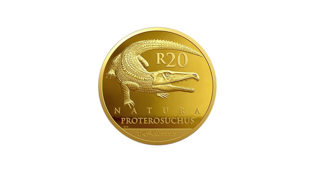 The Proterosuchidae, similar in form to the crocodile, is depicted on the R20 ¼ oz gold coin.Proterosuchus ranged between 1.5 m to 2.2 m in length, and resembled the crocodile with their long jaw, short legs, thick neck and a long flattened tail. The elongated snout of this creature resembles that of a modern gharial, more than that of a crocodile or alligator which would suggest that it was a specialised fish-eater. Its nostrils are on the side of the snout, supporting the hypothesis that they were terrestrial predators hunting in water.