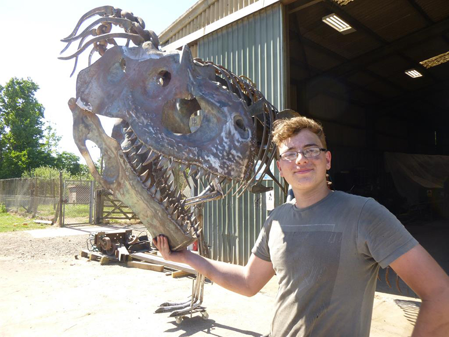 Pupil's pet: William with his completed allosaurus