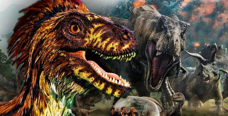 Raptor-with-feathers-and-T-Rex-in-Jurassic-World