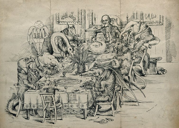Richard Owen presides over a dinner table attended by dinosaurs. © Wellcome Images, CC BY-SA