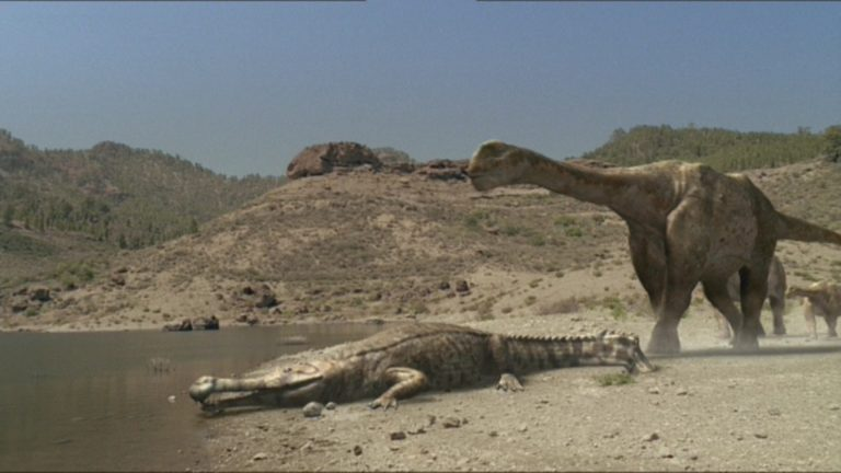 Size commparison of a sarcosuchus to an argentinosaurus, BBC