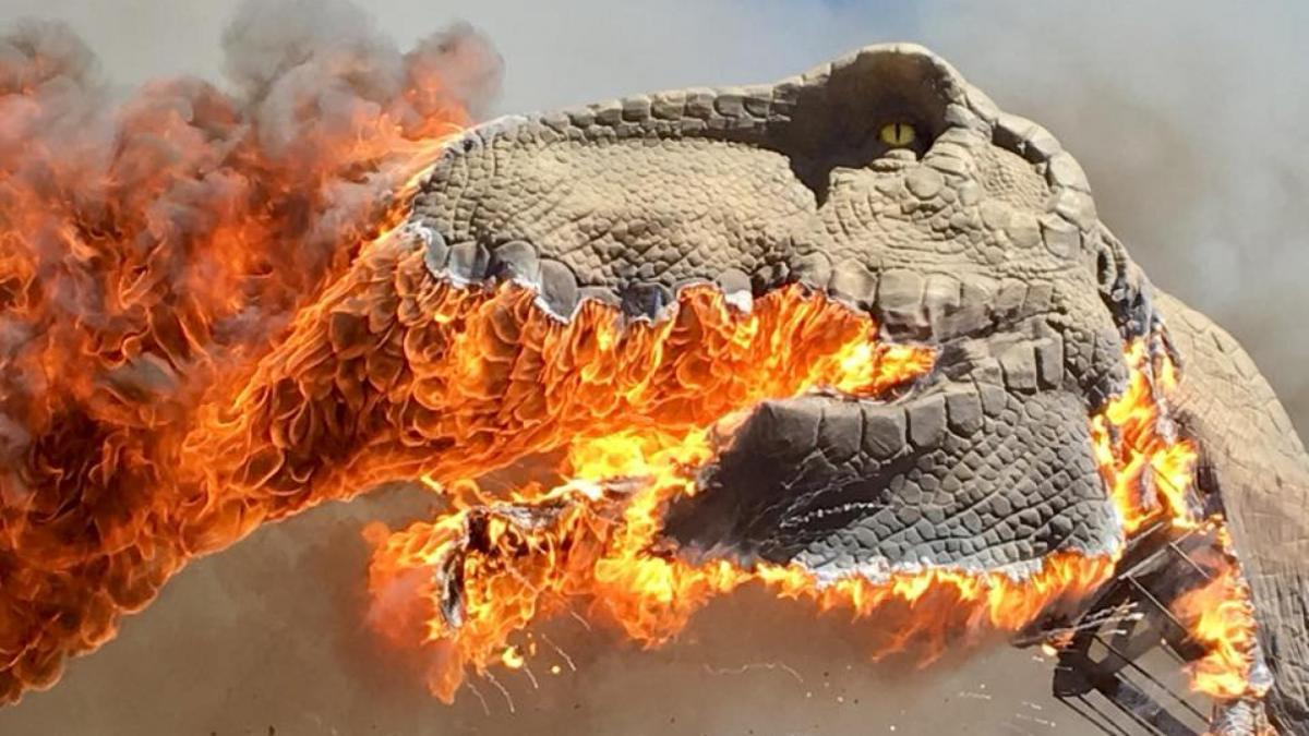 T. rex bursts into flames at US theme park