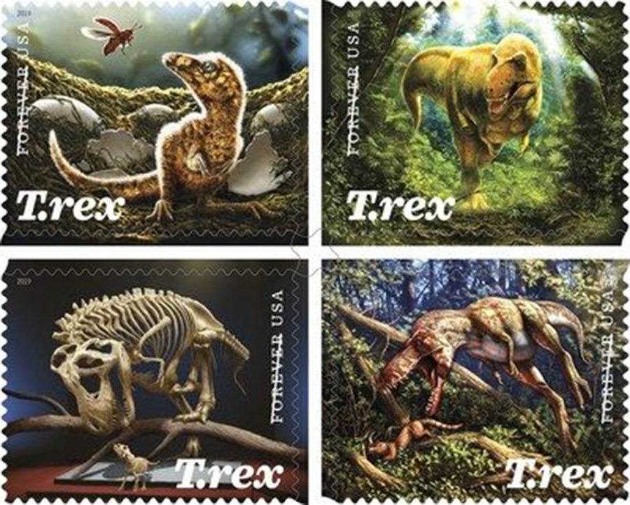 The King of the Dinosaurs now featured on a Forever stamp issued today by the U.S. Postal Service.