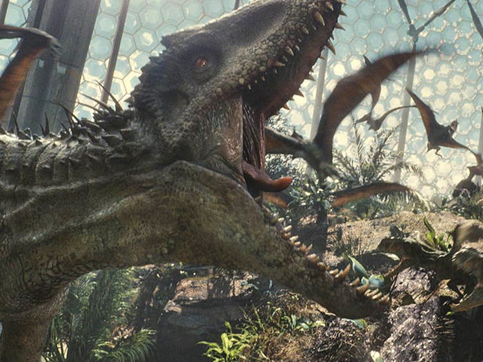 "The Indominus rex dinosaur roars in the movie ""Jurassic World."" Universal Pictures and Amblin Entertainment"