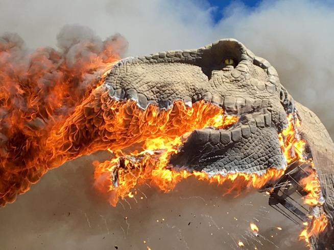 The T-Rex at the Royal Gorge Dinosaur Experience was destroyed by a fire that was ignited by an electrical issue in March. The museum plans to replace the animatronic. (Zach Reynolds / Royal Gorge Dinosaur Experience)