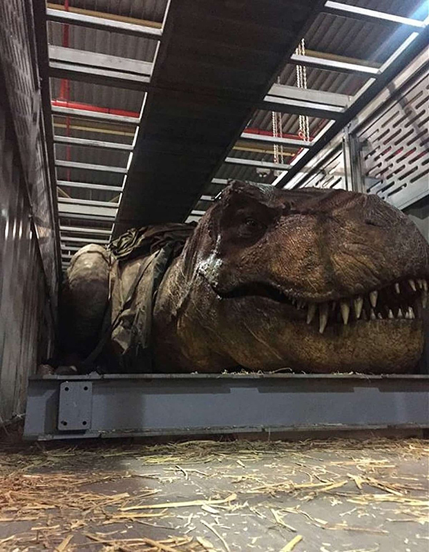 The animatronic Tyrannosaurus Rex is one of Jurassic World: Fallen Kingdom's most impressive practical effects.
