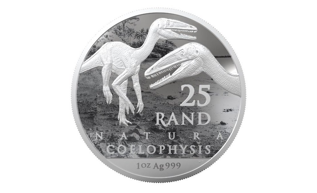 The fine silver Natura coin features the Coelophysis Rhodesiensis, a diminutive dinosaur that lived approximately 188 million years ago.