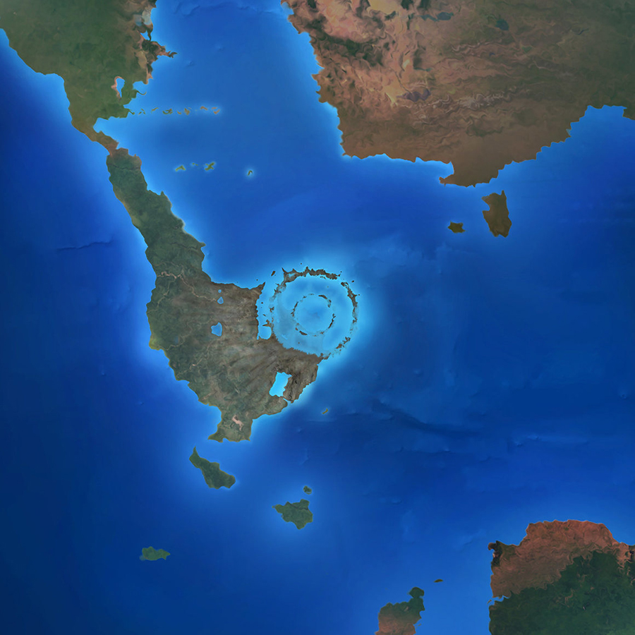 The impact created the Chicxulub crater, now buried beneath the Yucatán Peninsula. MARK GARLICK / SCIENCE PHOTO LIBRARY / GETTY IMAGES