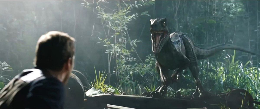 The moment Chris Pratt's Owen is reunited with velociraptor Blue.