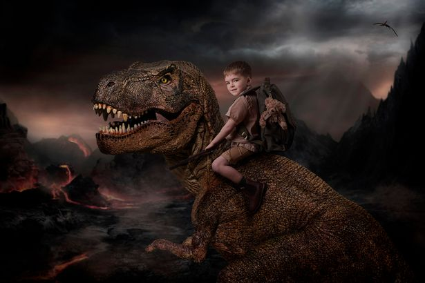 The pictures form a story as the 'hero' searches for a missing T-Rex egg