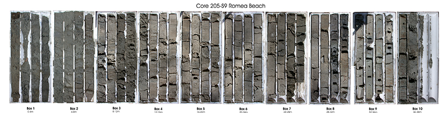 These bars are sections of sediment from one of the cores drilled in the Po Plain in northeastern Italy, about 45 miles south of Venice. Image courtesy of Daniele Scarponi