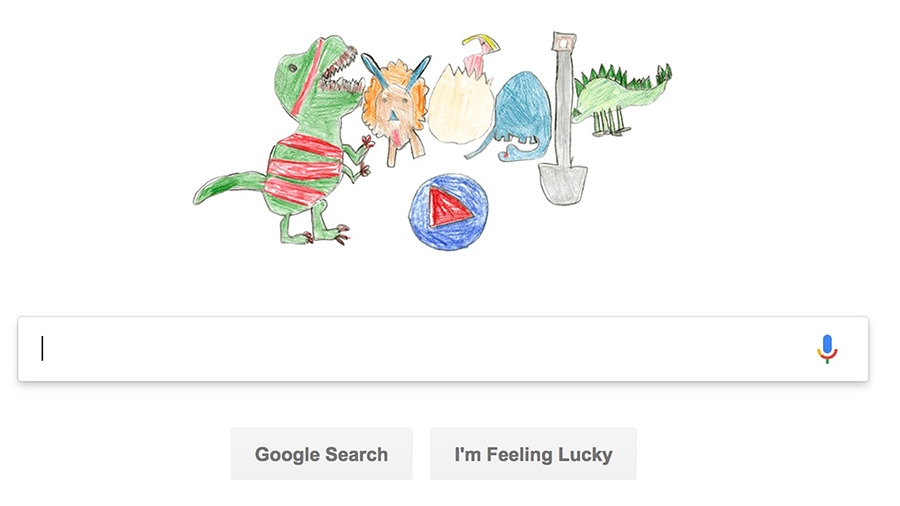 This Google Doodle featuring dinosaurs was created by second grader Sarah Gomez-Lane, as part of a contest to create the company's logo. (Photo: Google)