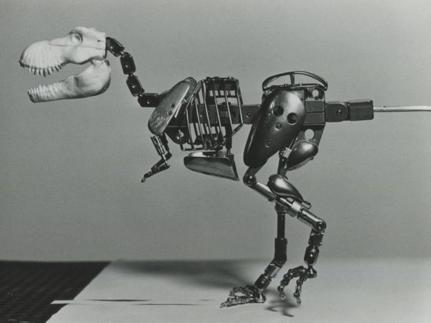 To animate accurately, the team created a very early version of motion capture using a wire frame dinosaur. TIPPETT STUDIO