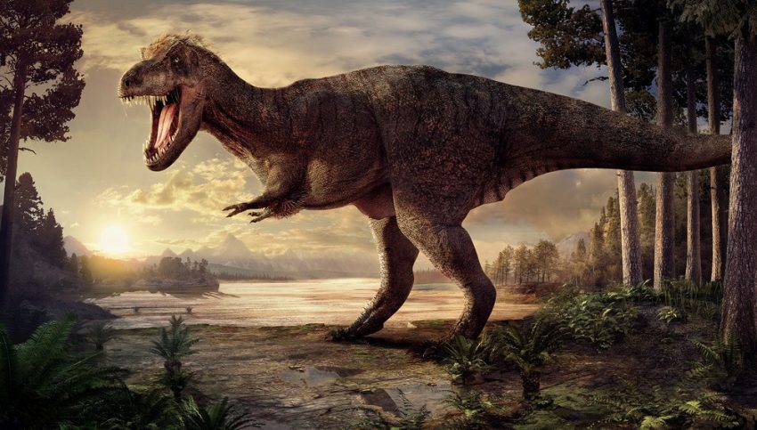 Artist impression of T. rex Trix according to the latest scientific theories and showing her actual wounds. (Naturalis Biodiversity Center)