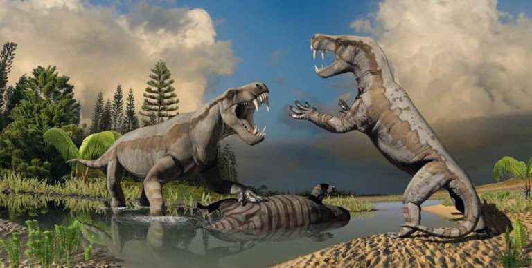 Two dinogorgons — described as reptile-like mammals — squabble over a meal. By atrox1