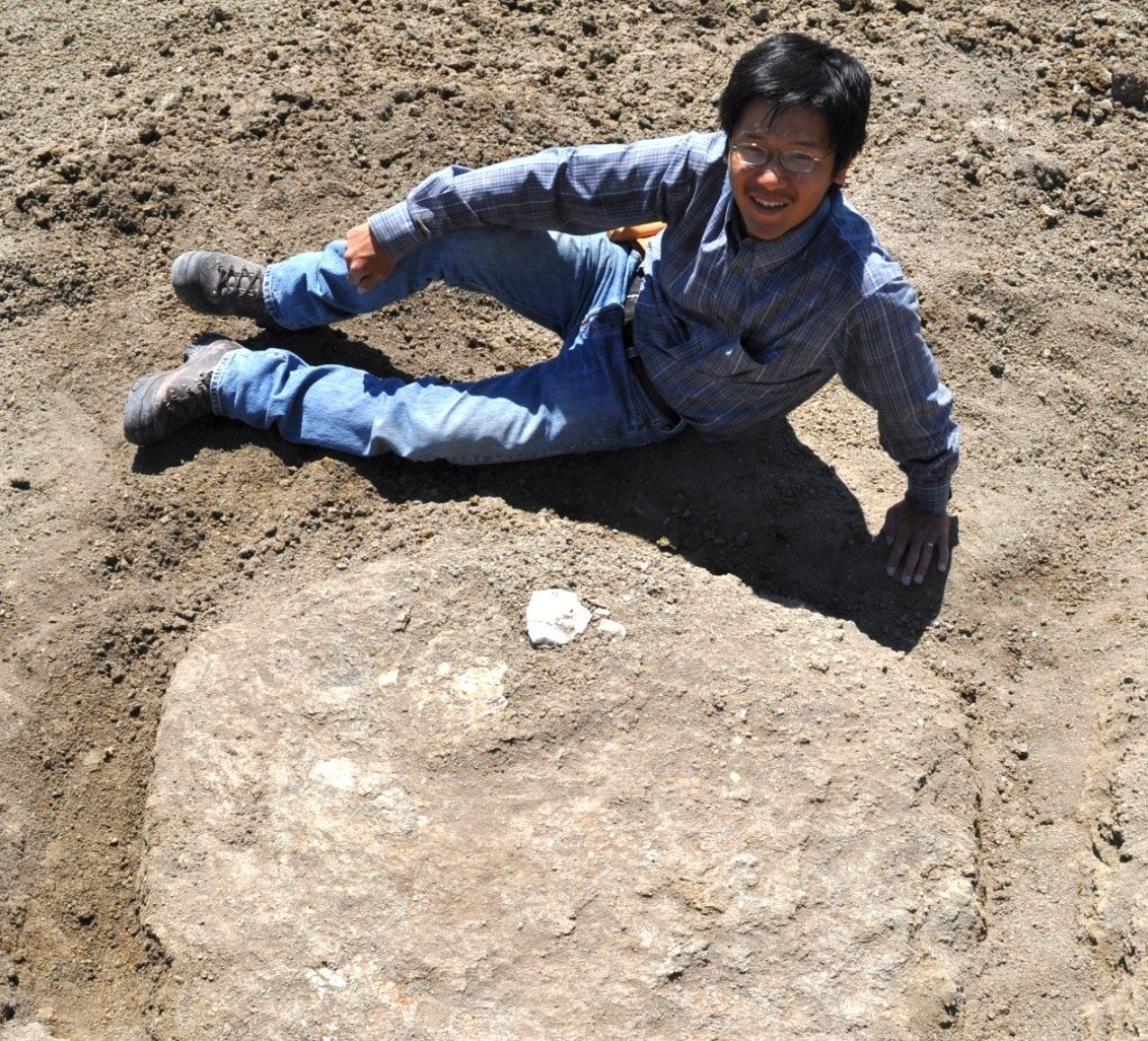 UC paleontologist Takuya Konishi poses with an ammonite fossil he discovered in Alberta, Canada, in 2011. Credit: Darren Tanke/Royal Tyrrell Museum of Paleontology