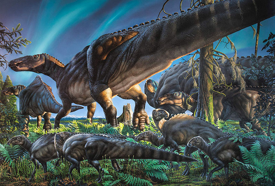 Small creatures like Unnuakomys hutchisoni scurried at the feet of duck-billed dinosaurs and other larger animals in Alaska's polar forests 69 million years ago. Image credit: James Havens.
