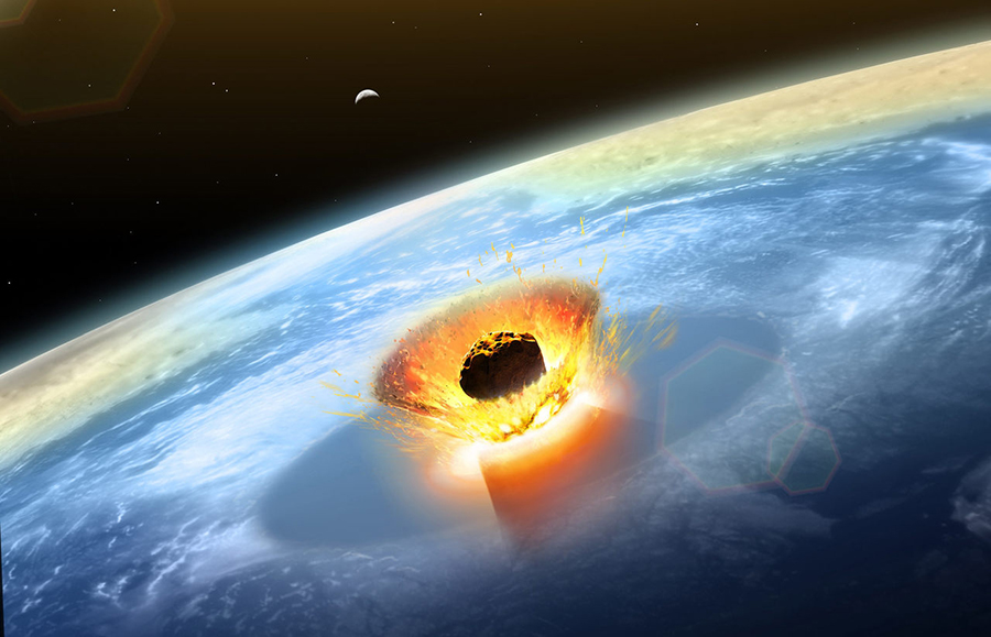 The asteroid that led to a mass extinction 66 million years ago likely struck the Earth at a very high speed—around 12.5 miles per second—and at the deadliest possible angle. MARK GARLICK / SCIENCE PHOTO LIBRARY / GETTY IMAGES