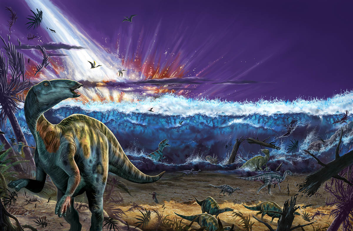 This impact was actually the least of the dinosaurs' worries. Illustration by Franco Tempesta, National Geographic