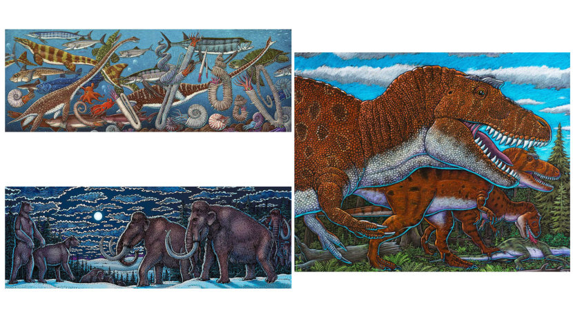 "(Clockwise from top left) ""North Pacific Cretaceous Marine Life,"" ""Nanuqsaurus (the 'Polar Bear Lizard)"" and ""Mega Bears and Mighty Mammoths"" are all examples of paleoart illustrated by paleoartist Ray Troll. PHOTOS COURTESY RAY TROLL"