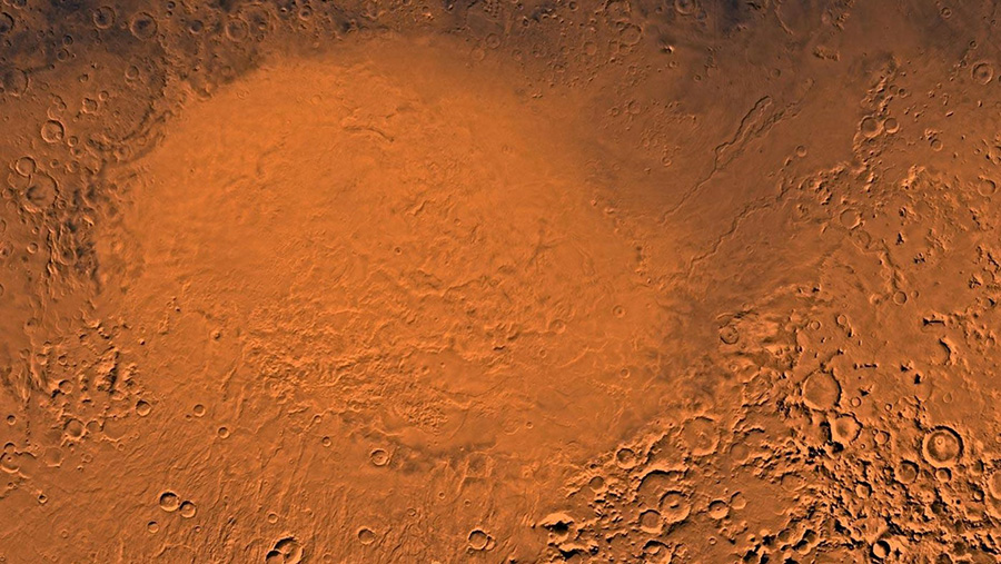 The Hellas Planitia region of Mars, where scientists believe small lakes came and went regularly. (NASA/JPL/USGS)