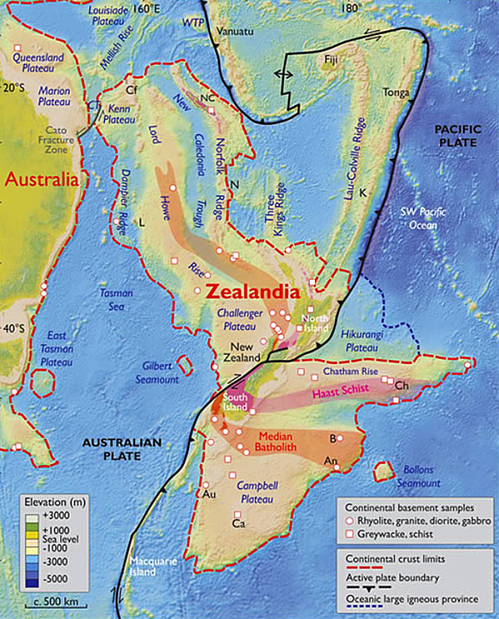 Based on various lines of geological and geophysical evidence, particularly those accumulated in the last two decades, Nick Mortimer et al argue that Zealandia is not a collection of partly submerged continental fragments but is a coherent 4.9 million km2 continent. NC – New Caledonia; WTP – West Torres Plateau; CT – Cato Trough; Cf – Chesterfield Islands; L – Lord Howe Island; N – Norfolk Island; K – Kermadec Islands; Ch – Chatham Islands; B – Bounty Islands; An – Antipodes Islands; Au – Auckland Islands; Ca – Campbell Island. Image credit: Nick Mortimer et al, doi: 10.1130/GSATG321A.1.