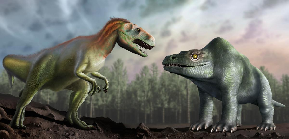 Artist's impression of how Victorian paleontologists thought Megalosaurus bucklandii looked (right), compared with how we now understand it to have looked (left). Image credit: Mark Garlick / University of Warwick.