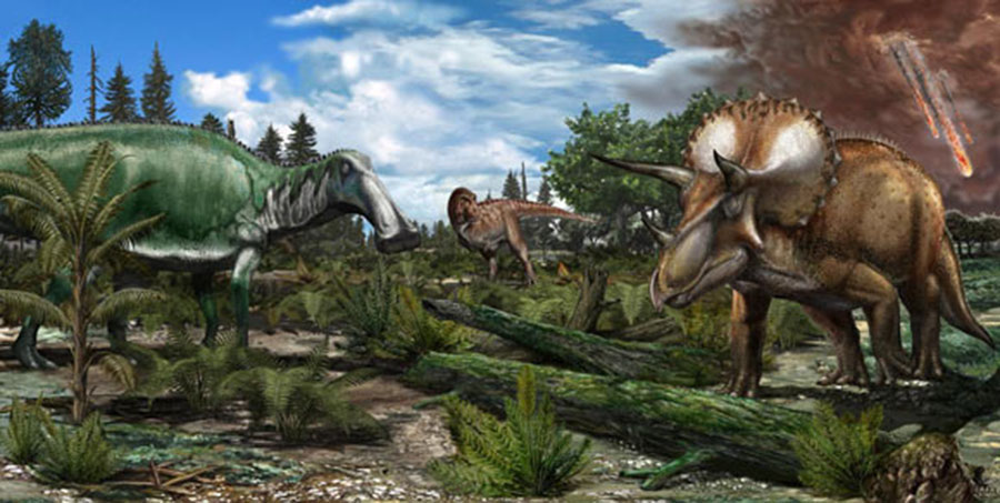 Reconstruction of Late Maastrichtian (66 million years ago) paleoenvironment in North America, where a floodplain is roamed by dinosaurs like Tyrannosaurus rex, Edmontosaurus and Triceratops. Image credit: Davide Bonadonna.