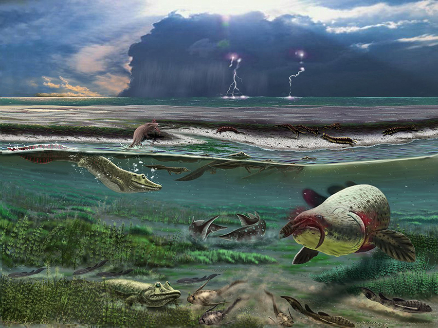 An artist's reconstruction of the Devonian-period Sosnogorsk lagoon just before a storm. Image credit: Mikhail Shekhanov / Ukhta Local Museum.