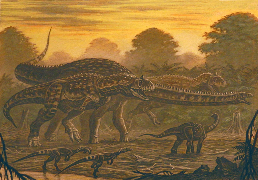 Two individuals of Majungasaurus chasing Rapetosaurus, with Masiakasaurus in the foreground. Image credit: ABelov2014, abelov2014.deviantart.com / CC BY-SA 3.0.
