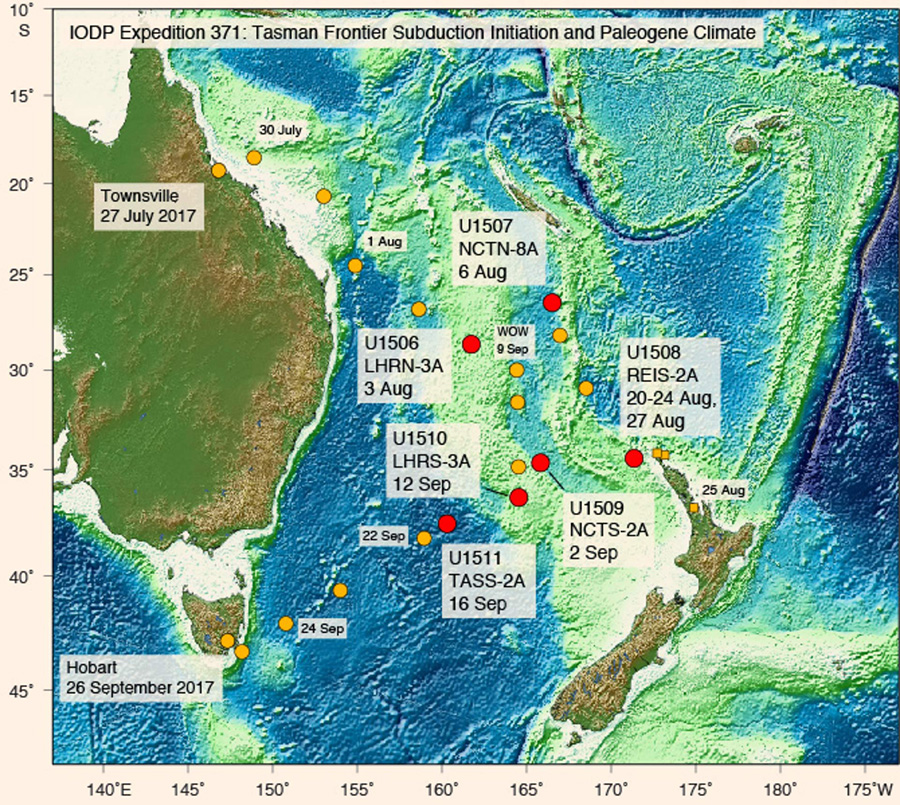 Seafloor drilling revealed that Zealandia experienced dramatic elevation changes between about 50 million and 35 million years ago. Image credit: International Ocean Discovery Program / JOIDES Resolution Science Operator.