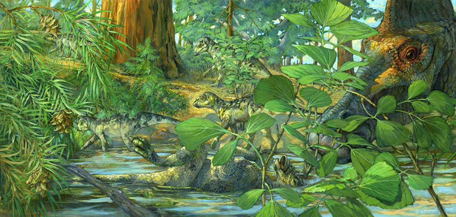 Artist's reconstruction of the nesting ground of Hypacrosaurus stebingeri. A deceased Hypacrosaurus nestling can be seen with the back of its skull embedded in shallow waters. The mother is portrayed at right. Illustration: Michael Rothman