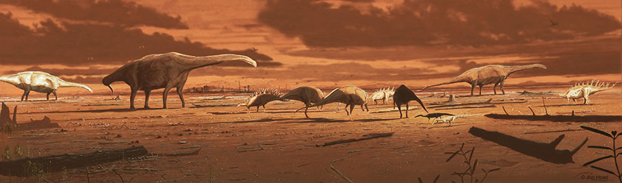 A snapshot of what the dynamic coastal environment of Skye may have looked like during the Middle Jurassic which bipedal ornithopods, theropods of various sizes, and stegosaurs in the foreground and middle on subaerially-exposed mudflats; in the distance, large sauropods wade in shallow lagoons. Image credit: Jon Hoad.