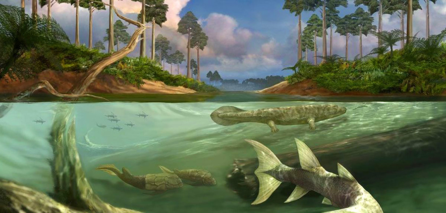 Devonian world. Image credit: Field Museum of Natural History in Chicago.