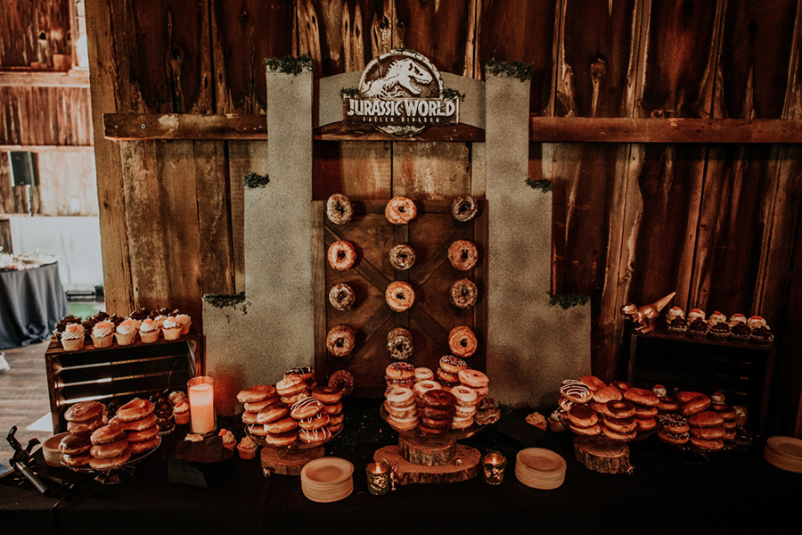 Billy's doughnut wall.SWNS