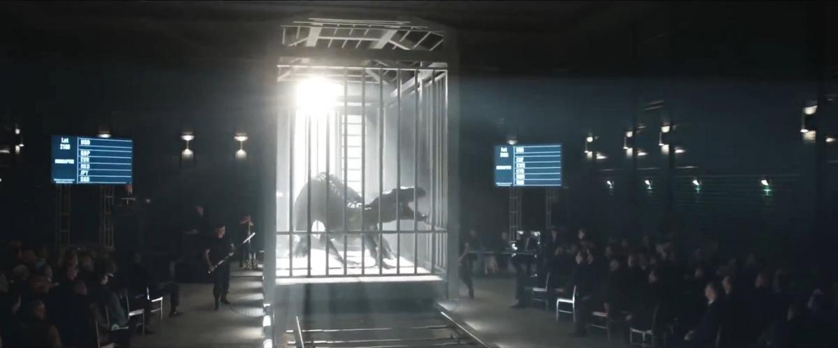 Here is a shot of Indoraptor from Jurassic World Fallen Kingdom. The start of Indoraptor's reign seems to have started as a stage show.