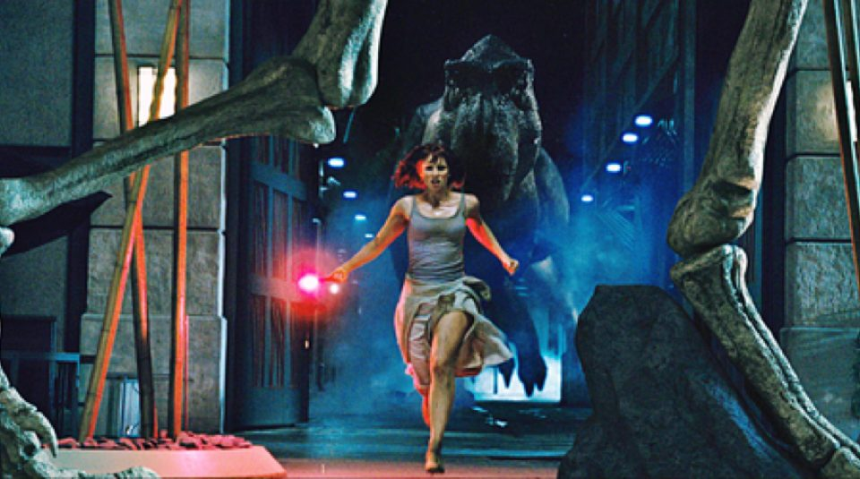 Claire's high heels in Jurassic World (2015)