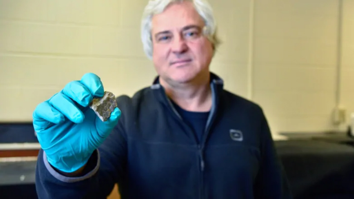 University of Regina physics professor Mauricio Barbi shows off a piece of skin that belongs to a 72-million-year-old dinosaur. He was part of the team that found the preserved tissue on a dig. Researchers are looking into how this skin is connected to modern animals. (University of Regina Photography Dept)