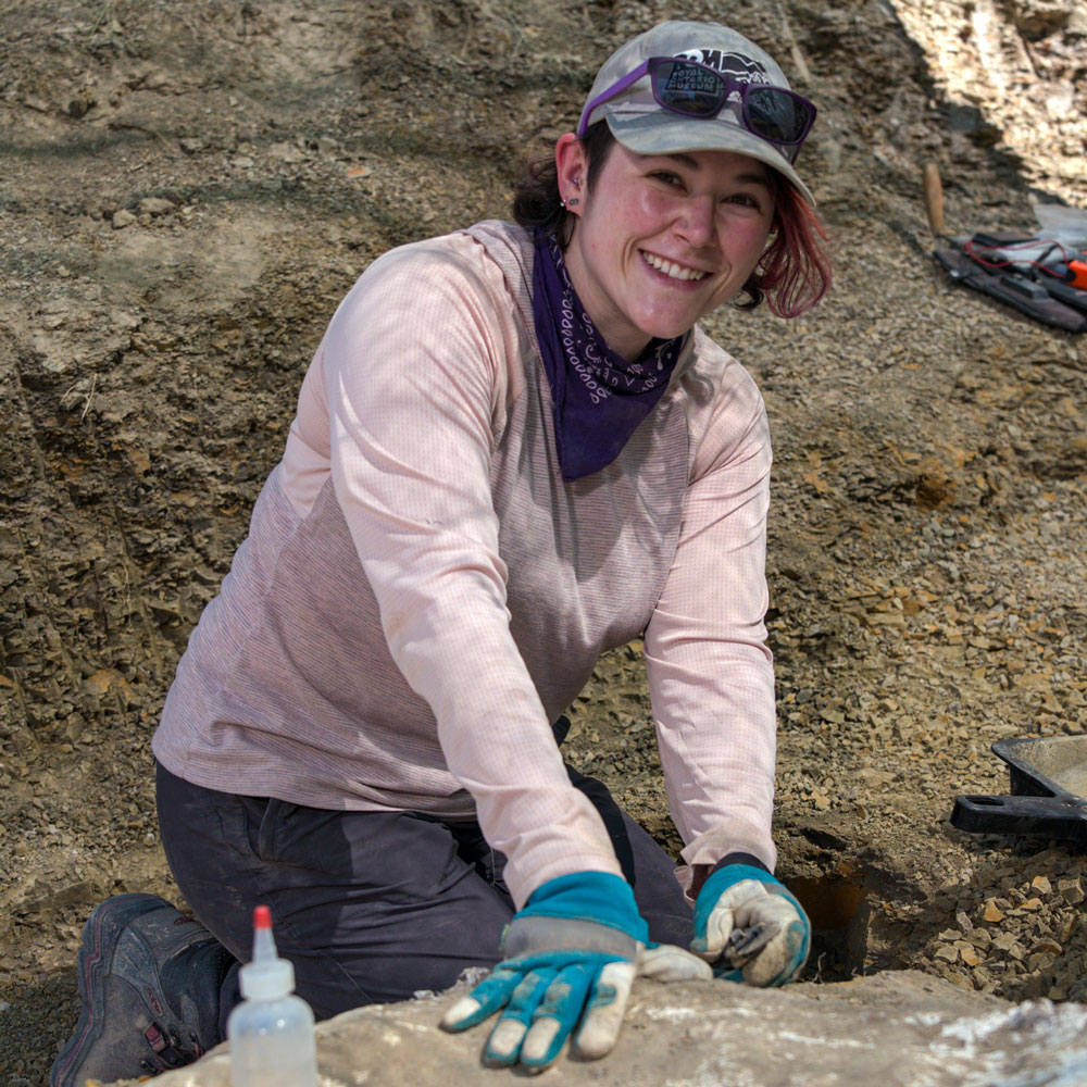 Danielle Dufault is a paleoartist. She also participates in digs with paleontologists and once discovered the skull of a Triceratops. Photo: Julie Florio