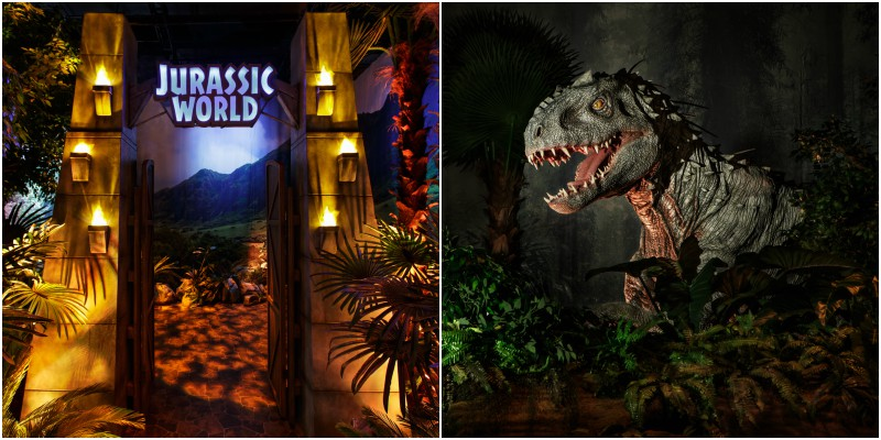 An animatronic Indominous in Jurassic World: The Exhibition.