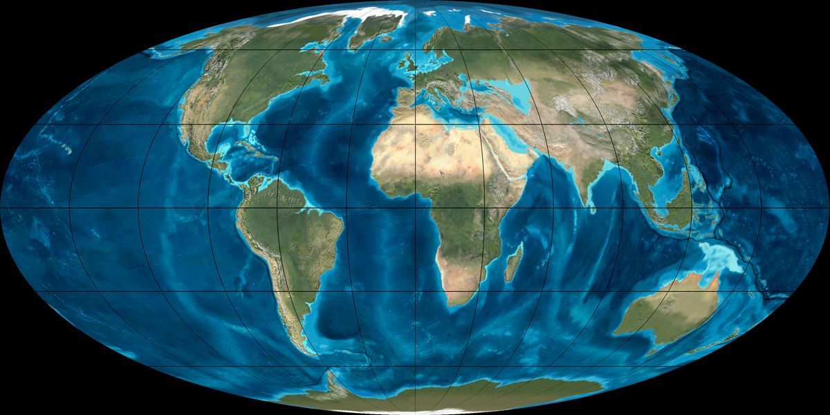 Mollewide [Oval-Globe] Plate Tectonic Map of the Earth from the Miocene