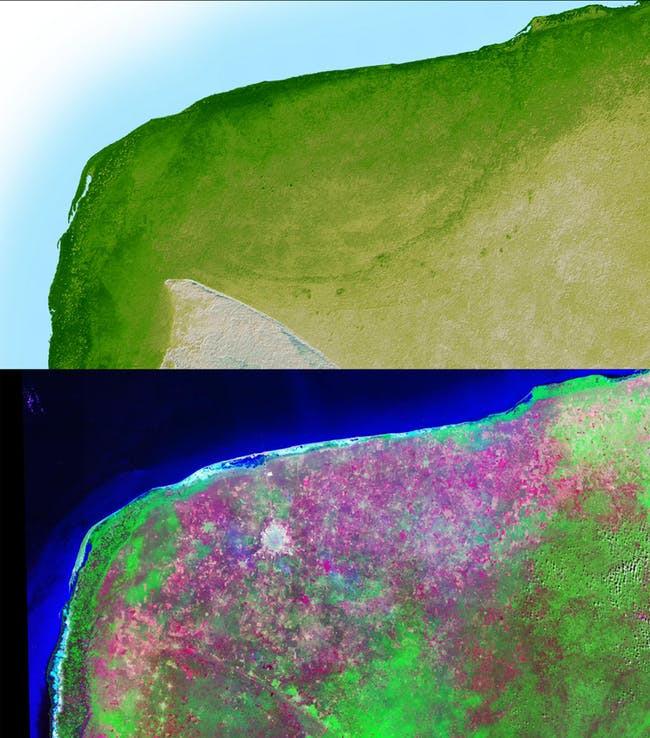 These images show two views of the Chicxulub impact crater, observed by NASA's Shuttle Radar Topography Mission and the Landsat satellite.