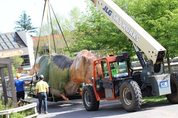 T. rex was one of the first dinosaurs to arrive at the zoo Monday. The Dinosaur Invasion! exhibit officially opens May 25.( photos by Maria Simmons)